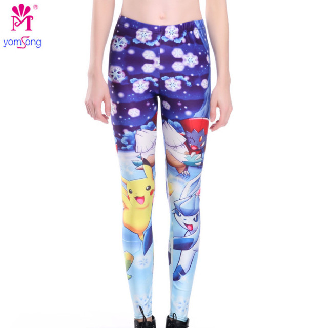 The New Pokemon Pocket Monster 3D Digital Printing Snowflake Leggings Fashion  2106