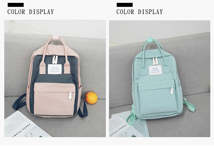 HTB1MKVrgmcqBKNjSZFgq6x kXXa0 - Women Hot Canvas Backpacks Candy Color Waterproof  School Bags for Teenagers Girls Laptop Backpacks Patchwork Backpack New