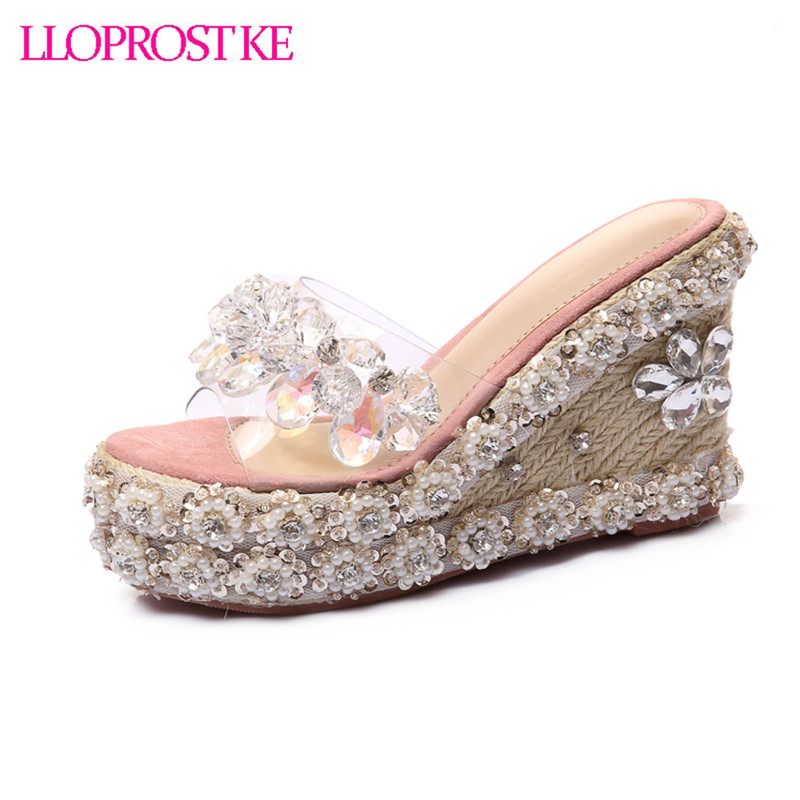 LLOPROST KE Woman summer Sandals shoes With Crystal Casual Slides Women summer Shoes For Lady Femininos sandals LCL030 lloprost ke 2017 summer new style fashion sandals of woman ladies shoes on heels big size 32 45 three color woman sandals lyf015
