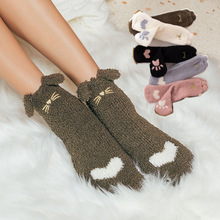 Socks women's winter coral velvet socks in the tube to keep warm cute cartoon thickening column sleep home socks beauty foot beam to column joints in rc frames