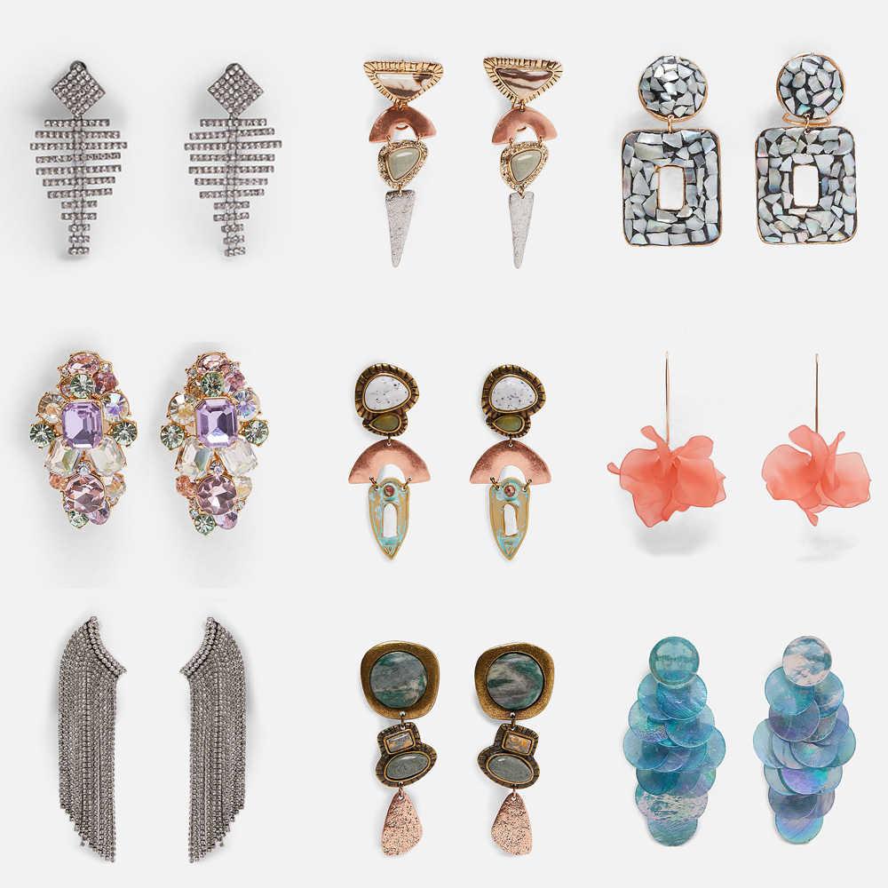 ผู้หญิงที่ดีที่สุด 2019 ใหม่ Bohemian หินธรรมชาติ ZA Drop ต่างหูสำหรับผู้หญิงงานแต่งงานออกแบบ INS อินเทรนด์ Dangle ต่างหูของขวัญ