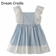 Dream Cradle / Spain Kids Clothes Spanish Baby clothes Girls Dress Lace,Polka Dots,Cotton