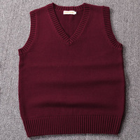 New Wine Red Green Coffee Color Sweater Vest Solid Color JK Cute Cosplay Pullover Girl School