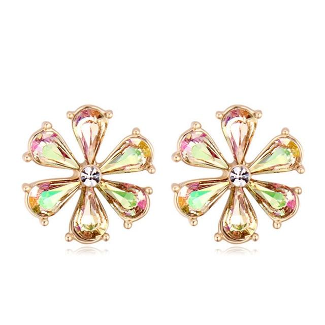 668ab8294 Genuine Crystal from Swarovski Sweet Flower Stud Earrings for Women Fashion  Brincos Jewelry Joyas Made with