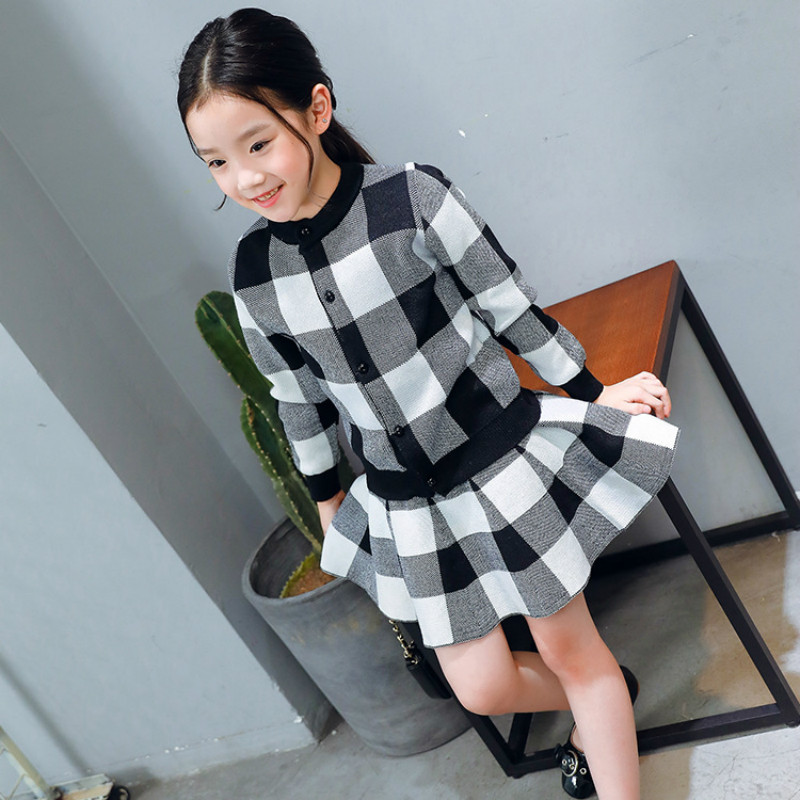 Autumn 2018 New Children's Clothing Set Girl Plaid Jacket + Short Skirt Suit Two Pieces Sets for Girls Kids Clothing Suit khs khs khs enfs nxtlt5