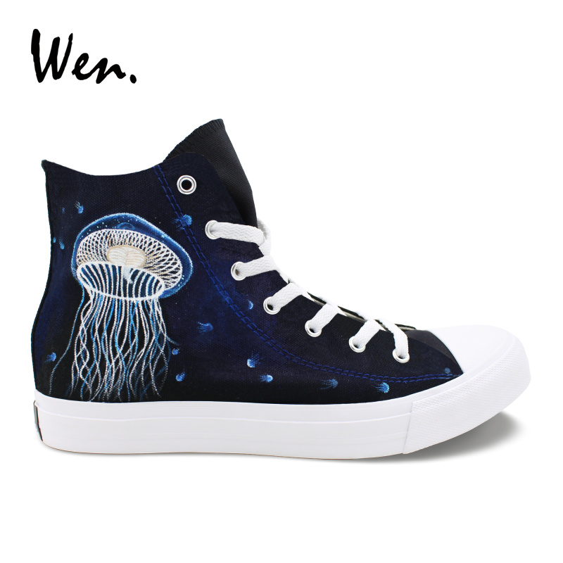 Wen Custom Shoes Jellyfish Hand Painted Canvas Shoes Boys Girls Black High Top Sneakers Cross Straps Plimsolls Low Heeled Flat wen original high top sneakers steam punk hand painted unisex canvas shoes design custom boys girls athletic shoes gifts