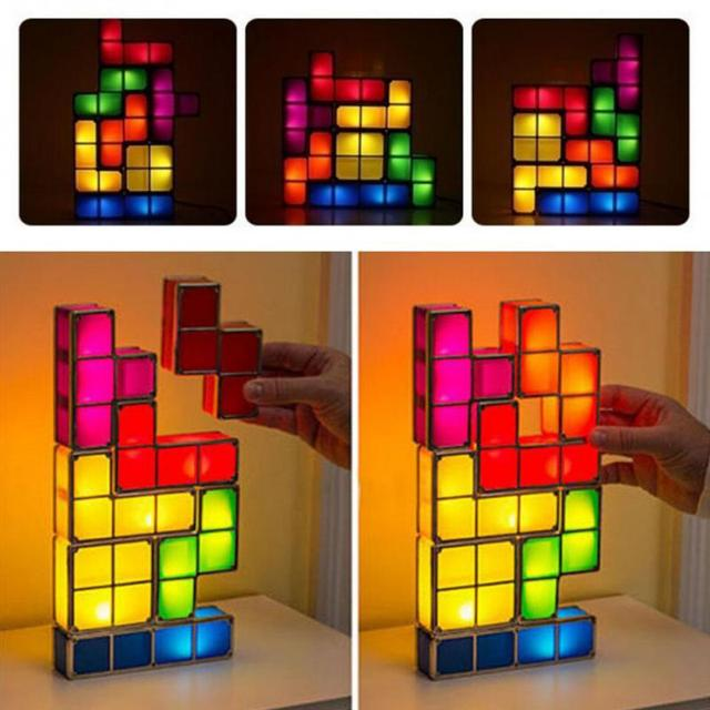 diy tetris lumieres constructible retro game style colore empilable led night light lampe de bureau