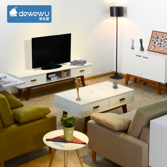 Combination Coffee Table TV Cabinet Modern Minimalist Living Room Furniture  Ideas White Suit Small Apartment Multifunction