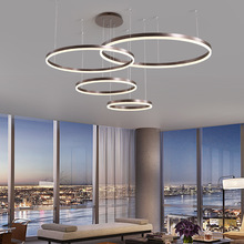 LukLoy Post Modern Rings Loft Chandelier Hotel Suspension Lamp Light Gold Bronze Living Room O Shape Ring Lamp