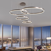 LukLoy Post Modern Rings Loft Chandelier Hotel Suspension Lamp Light Gold Bronze Living Room O Shape Ring Lamp