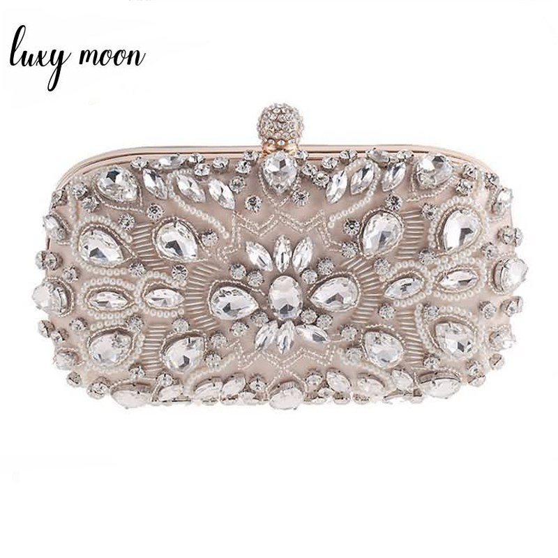 Luxy Moon Evening Bags Diamond Rhinestone Pearls Beaded Wedding Clutch Women's Purse Handbags Wallets Evening Clutch Bag bolsa(China)