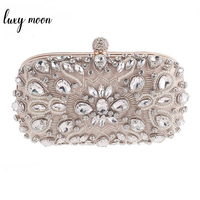 Luxy Moon Evening Bags Diamond Rhinestone Pearls Beaded Wedding Clutch Women's Purse Handbags Wallets Evening Clutch Bag bolsa