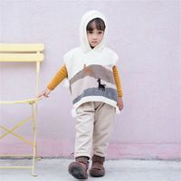 Autumn Spring New Fashion Baby Girls Boys Cloak Sweater Toddler Kids Cute Hooded Knitted Vest Children New Year Clothing 12M 5T