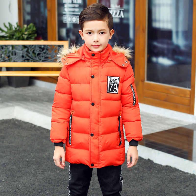 Новинка 2019 года, Детский пуховик зимняя куртка с капюшоном для подростков Детское пальто, верхняя одежда длинное теплое Детское пальто с меховым воротником для От 4 до 16 лет