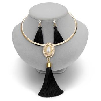 Tassel  Boho Pearl Chocker Necklace Crystal Drop  Jewelry Set  5