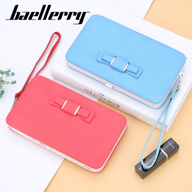 Xax Purse Bow Women's Wallet Female Famous Brand Card Holders Cellphone Pocket Pu Leather Clutch Women Wallet Large Lychee 136q
