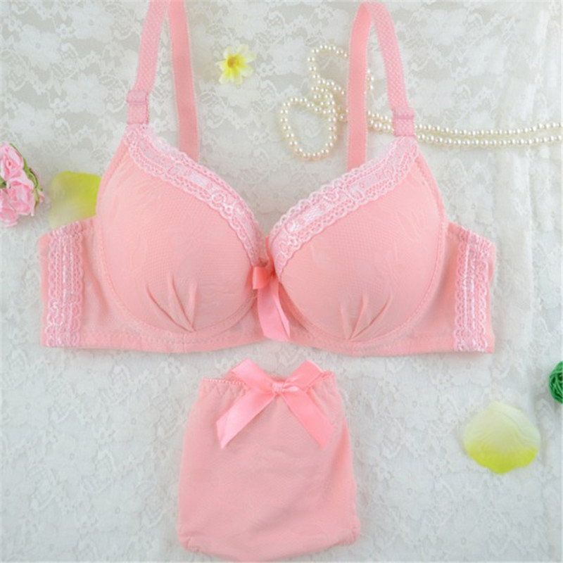 Female Sexy Bralette   Set   Women Nice Solid 3/4 Cup Lace Bow Push Up   Bras  +  Brief   Knickers Lace   Bra     Set