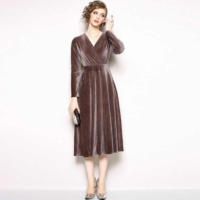 OL вельветовые зимние платья с длинным рукавом для женщин ...