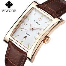 WWOOR Luxury Brand Men Quartz Watch Rectangular Men's Wristw
