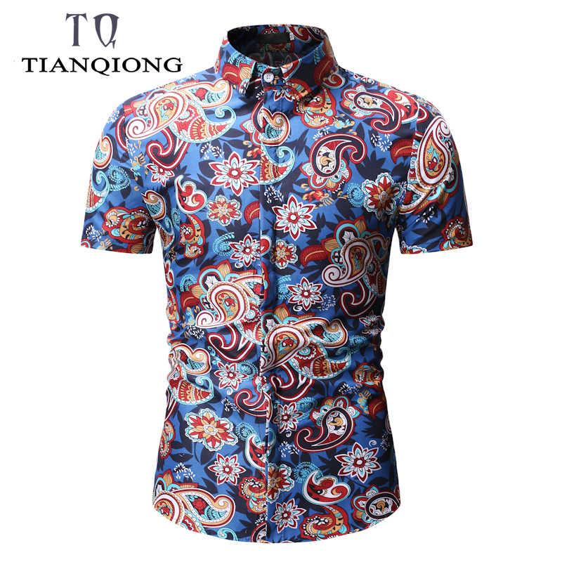 2019 новая весенняя Летняя мужская рубашка, стильная пляжная Мужская гавайская рубашка с принтом дерева, повседневная гавайская рубашка с короткими рукавами, сорочка