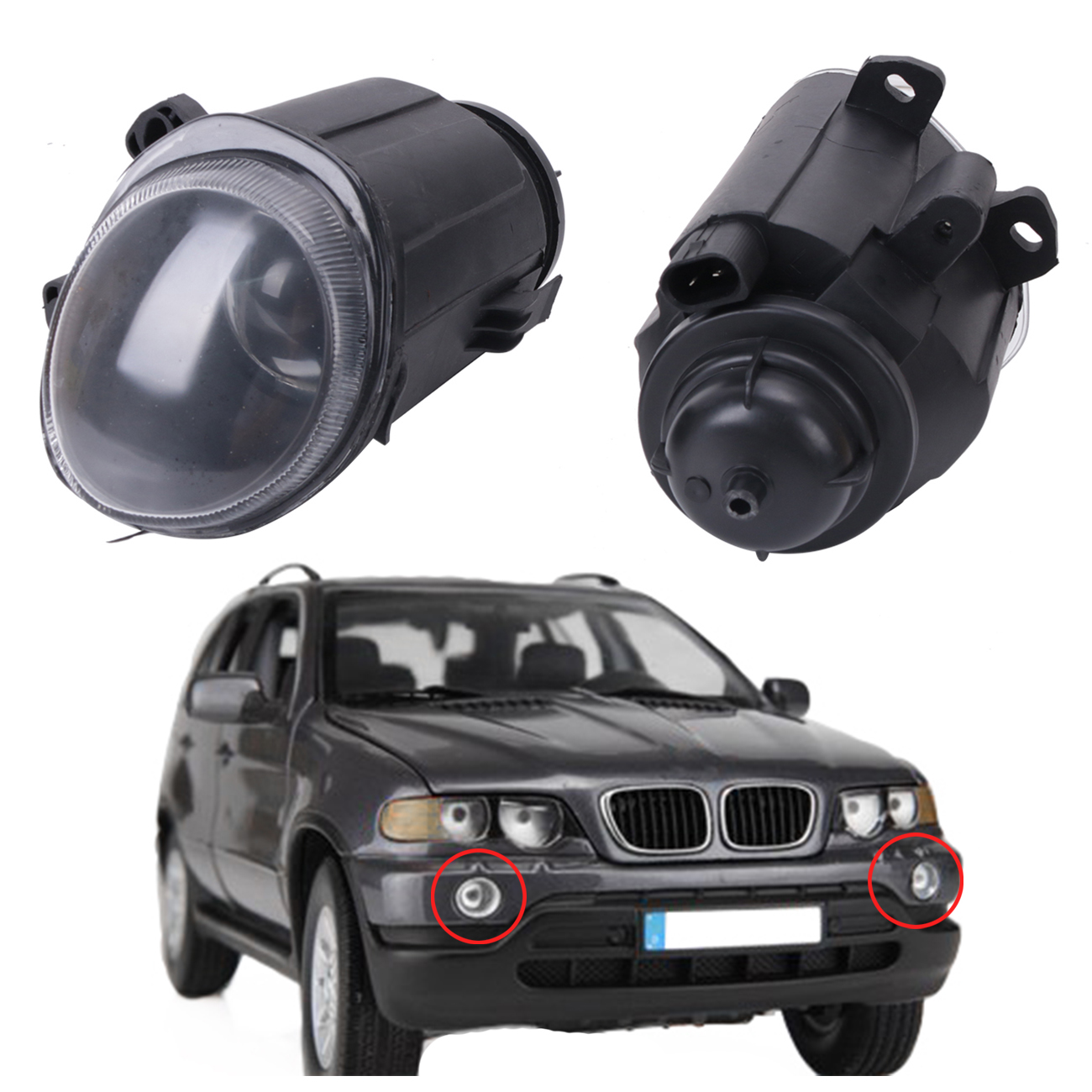 2x Front Fog Lights Clear Lens Driving Lamps Foglamp For BMW X5 E53 2000 2001 2002 OEM 63178409025 63178409026 #W087 high quality 1pair bumper driving fog light lamp lens for bmw e39 5 series 525i 530i 540i 4door 2001 2002 2003 car accessory q35
