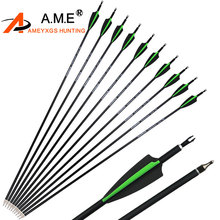 6/12/24pcs 30.5inch Spine 500 Shooting Arrows Mixed Carbon Fiber Suitable For Composite Bow And Long Archery Hunting