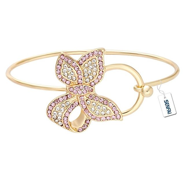 e3e68b61b0d5 New Style 3 Color Gold Silver And Rose Gold Simple Bangles Design Crystal  Bowknot Hook open Copper Female Beautiful Bracelet