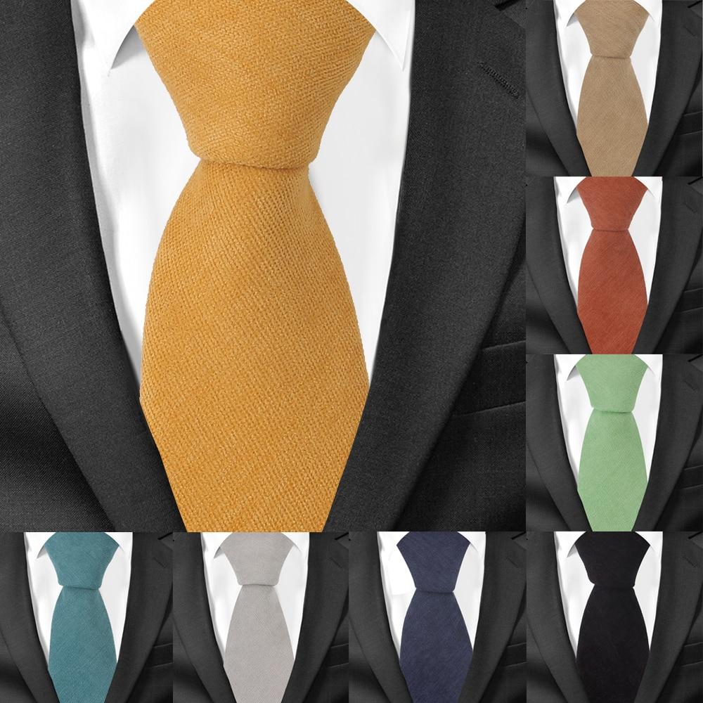 Men Cotton Neck Ties Casual Suits Skinny Tie Gravatas Solid Green Mens Neckties For Business 7 Cm Width Wedding Men Ties