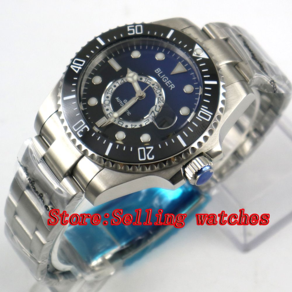 43mm Bliger Stainless Steel Case Black Blue Dial black Ceramic Bezel Luminous Mechanical Mens Wristwatch43mm Bliger Stainless Steel Case Black Blue Dial black Ceramic Bezel Luminous Mechanical Mens Wristwatch