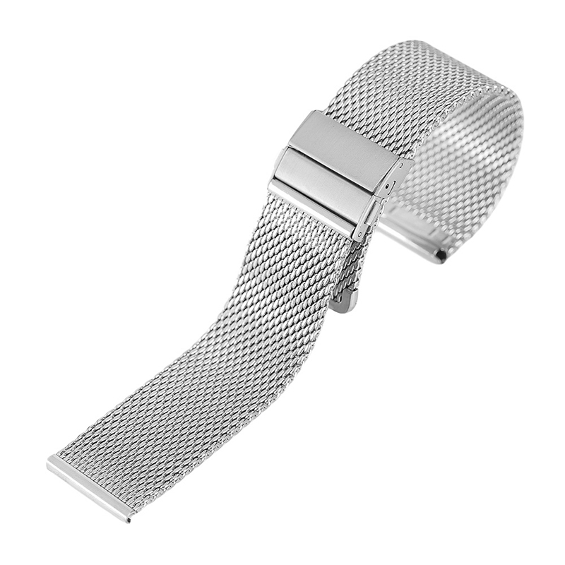 Black Silver Mesh Stainless Steel Watch Band Hook Buckle 18/20/22 MM Bracelet Straps Replacement for Wristwatch 18 20 22mm mesh stainless steel watch band black silver rose gold strap hook buckle men watches replacement bracelet for huiwei