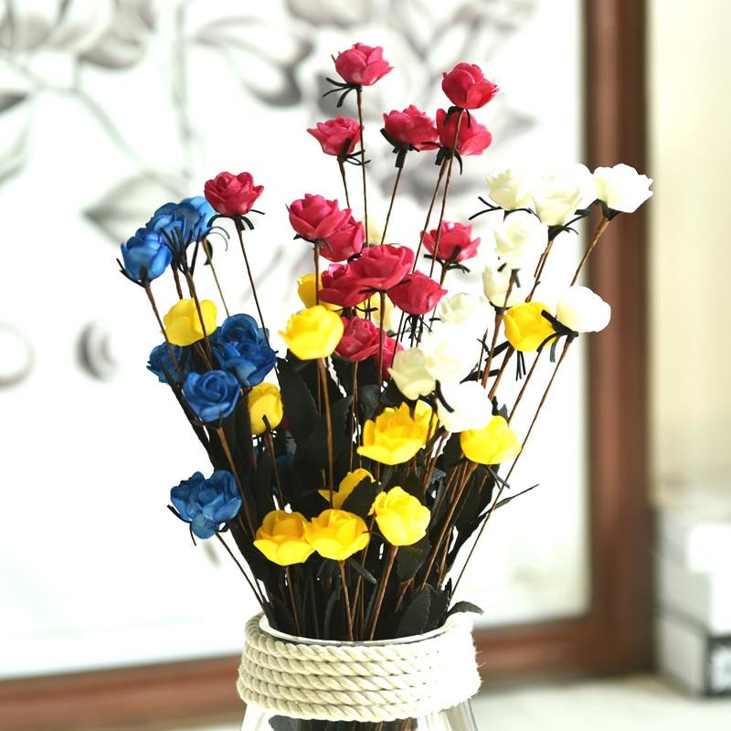 6pcs Artificial Flowers Silk Roses Wedding Shoes Headdress Diy Home Decoration Flower Wall Bridal Wreath