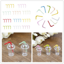 Wholesale 2/4Pcs/Lot 1:12 Dollhouse mini milk tea cup with straw simulation drink Food Drink Beverage Toy Decoration model toy(China)