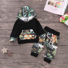 2Pcs Baby Boy Clothes Set Camouflage Hooded Baby Boys Camouflage Camo Hoodie Tops Long Pants 2Pcs Outfits Set Clothes(China)
