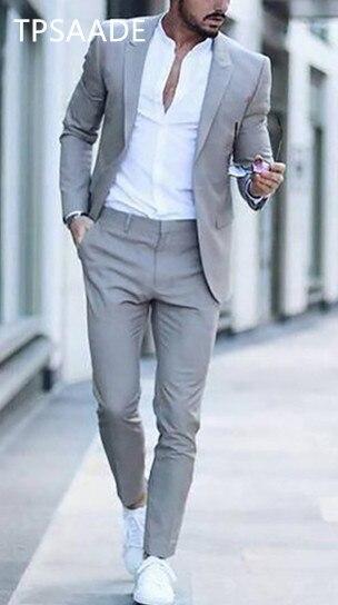 Casual mannen past street fashion Smart Business mannelijke Blazer zomer strand wedding suits voor mannen prom party beste man pak 2 stuks-in Pakken van Mannenkleding op  Groep 1