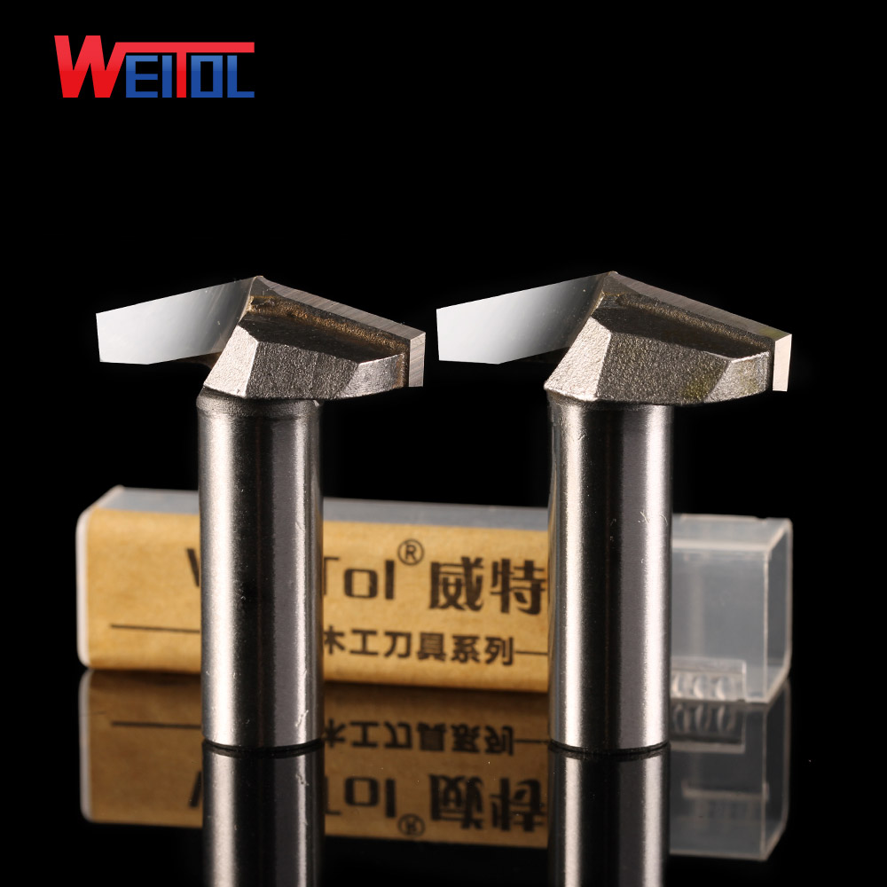 Weitol 1 pcs 1/2 inch Woodworking Cutter Double Edging Router Bits for wood carbide 30 degree V engraving bit