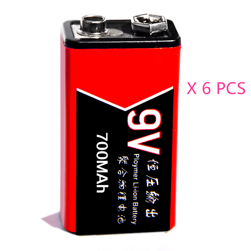 6pcs/lot 700mAh Li-ion 9 V Rechargeable Batteries For Smoke detectors Wireless Microphones