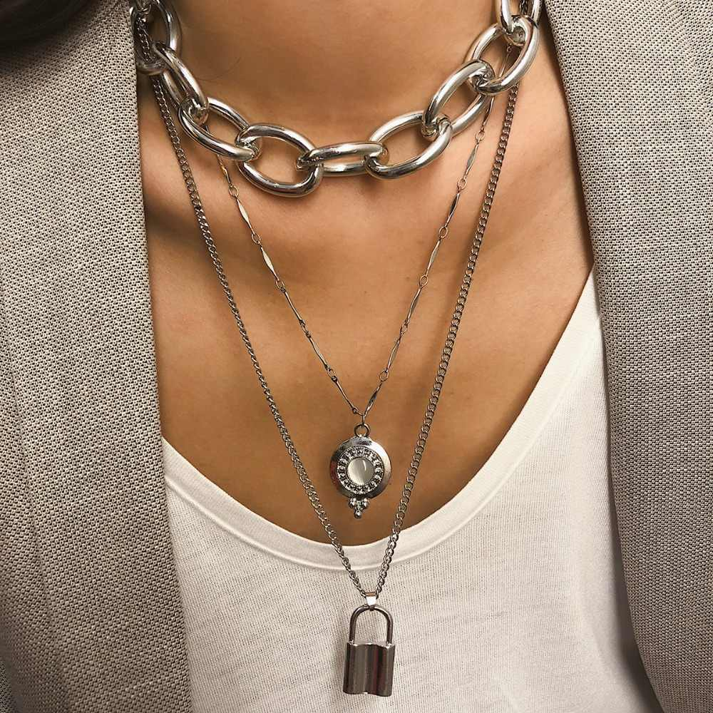 KMVEXO Punk Lover's Lock Pendant Choker Necklace Boho Clavicle Golden Thick Chain Opal Crystal Necklaces Collier Women Gift 2019