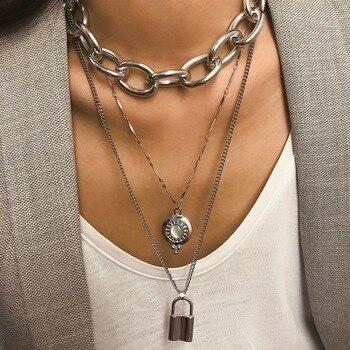 Punk Lover's Lock Pendant Choker Clavicle Golden Necklace