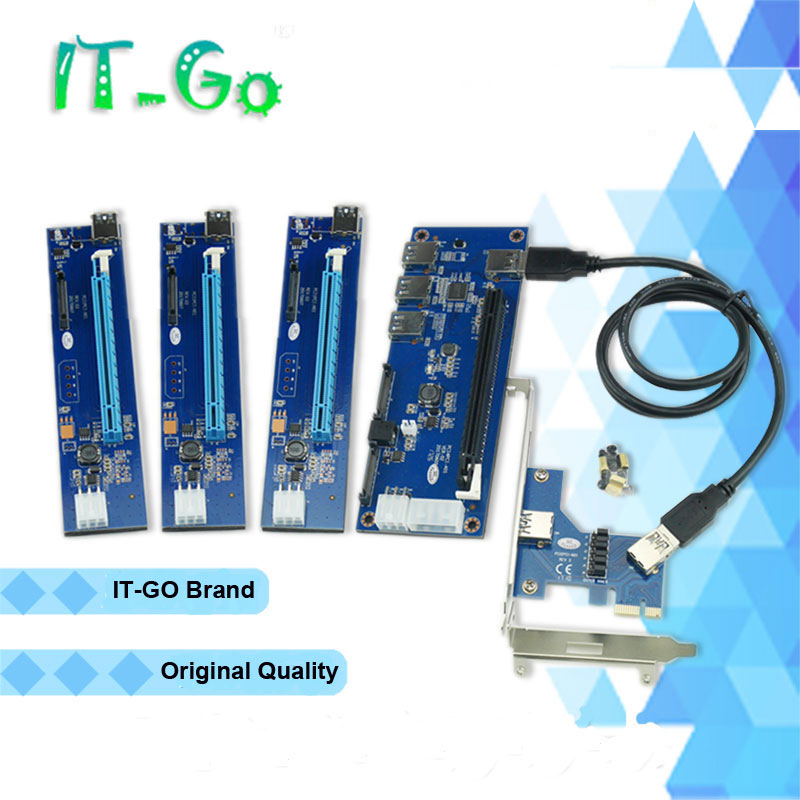 ARUENTEX IT-GO PCI-E x1 x16 Expansion kit PCIe x1 1 to 4 External PCI Express 16X slots Riser Card PCIe Port Multiplier Card 5gbps superspeed 4 ports usb 3 0 expansion card adapter pci e pci express controller for pcie x1 x4 x8 x16 port for win 7 8 10