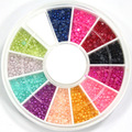 1200 PCS 1.5mm 12 Mix COLOR NAIL ART PEARL Decoration For TIPS w/ Wheel