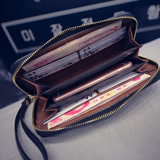 Women Wallet New Creativa Big Long Purses Famous Design Good Leather Geometric Patterns Wallets Lady Day Stitch Lingge Clutches