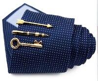 Gold Silver Color Pen Arrow Leaf Key Mustache Fishhook Tie Clips Chrome Stainless Steel Standard Tie