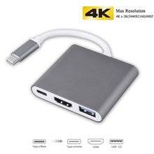 3-в-1 Thunderbolt 3 Тип usb C концентратор к HDMI адаптер 4 К Алюминий USB-C Hub Док с Тип -C Мощность доставки для MacBook Pro 2018