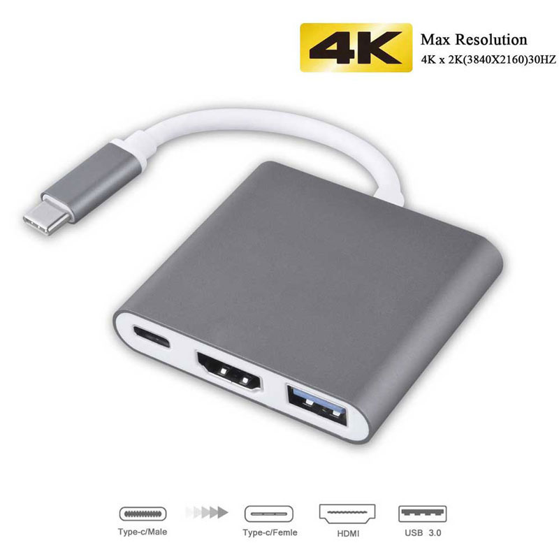 3-in-1 Thunderbolt 3 USB Typ C Hub zu HDMI Adapter 4 karat Aluminium USB-C Hub Dock mit Typ-C Power Lieferung für MacBook Pro 2018