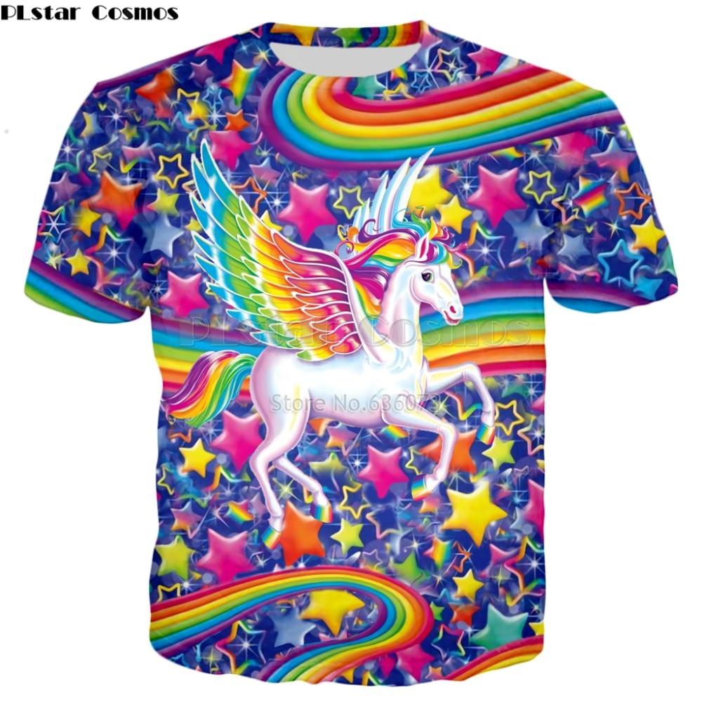 PLstar Cosmos 2018 summer New style 3d   T  -  shirt   Lisa Frank Cartoon Rainbow unicorn horse Print Men's Women's Casual   t     shirt