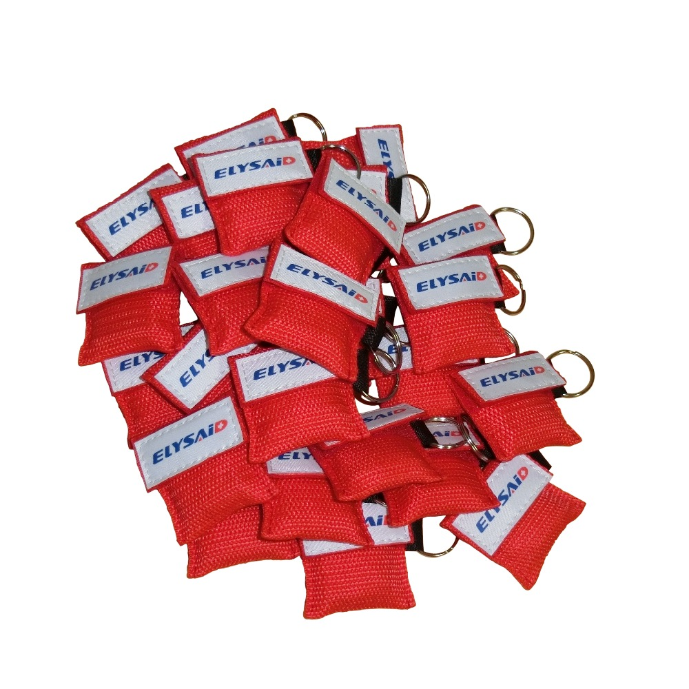50Pcs Hot Sale CPR Resuscitator Mask Face Shield One-way Valve Mouth To Mouth Breathing For First Aid Red Nylon Pouch Wrapped 100pcs lot disposable keychain cpr mask with a pair latex gloves one way valve first aid mouth breath resuscitator face shield