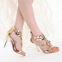 Heißer 2016 sommer neue ankunft frauen thin high heels sandalen mode pailletten t-riemen gladiator römischen damen sexy sommer stiefel schuhe