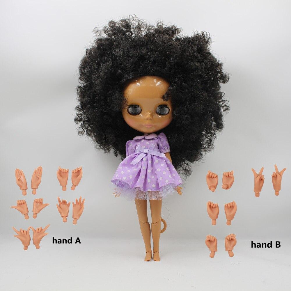 Oyuncaklar ve Hobi Ürünleri'ten Bebekler'de Ücretsiz kargo fabrika blyth doll çıplak bebek 1/6 30cm bjd neo koyu cilt ortak vücut dalgalı saç oyuncak hediye'da  Grup 1