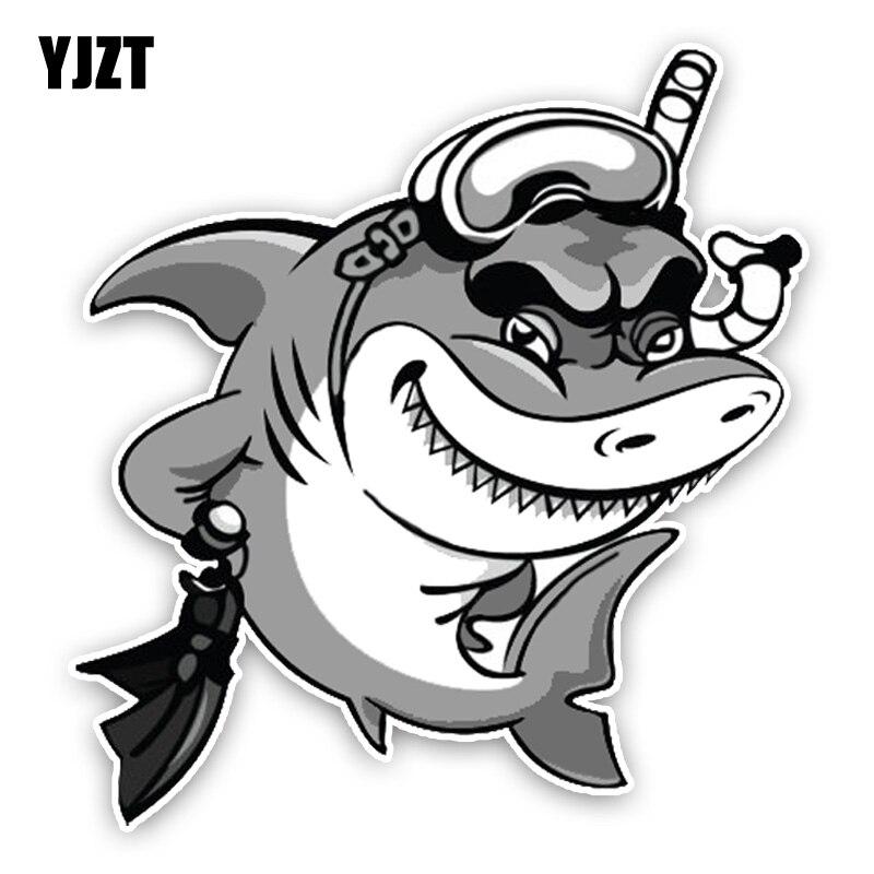 YJZT 13.4*14.2CM Interesting Shark Diver Lovely Cartoon Colored PVC High Quality Car Sticker Decoration C1-5417