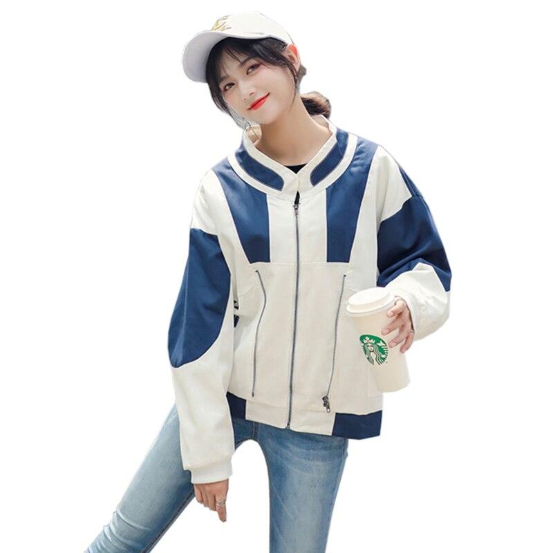 Plus size 2019 New Spring Women Long sleeve Bomber   Basic     Jacket   Fashion Letter Pocket Zipper Outwear Loose Coat Female LU852